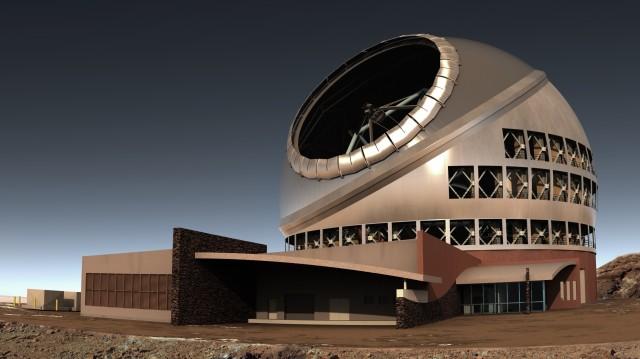 하와이 마우나케아에 건설 중인 또 다른 거대망원경 TMT(Thirty Meter Telescope, 주경 30m급). E-ELT와 마찬가지로 1.44m 길이의 육각형 거울 492장을 이어 붙인 벌집 모양 주경을 사용한다. - ⒸTMT 제공
